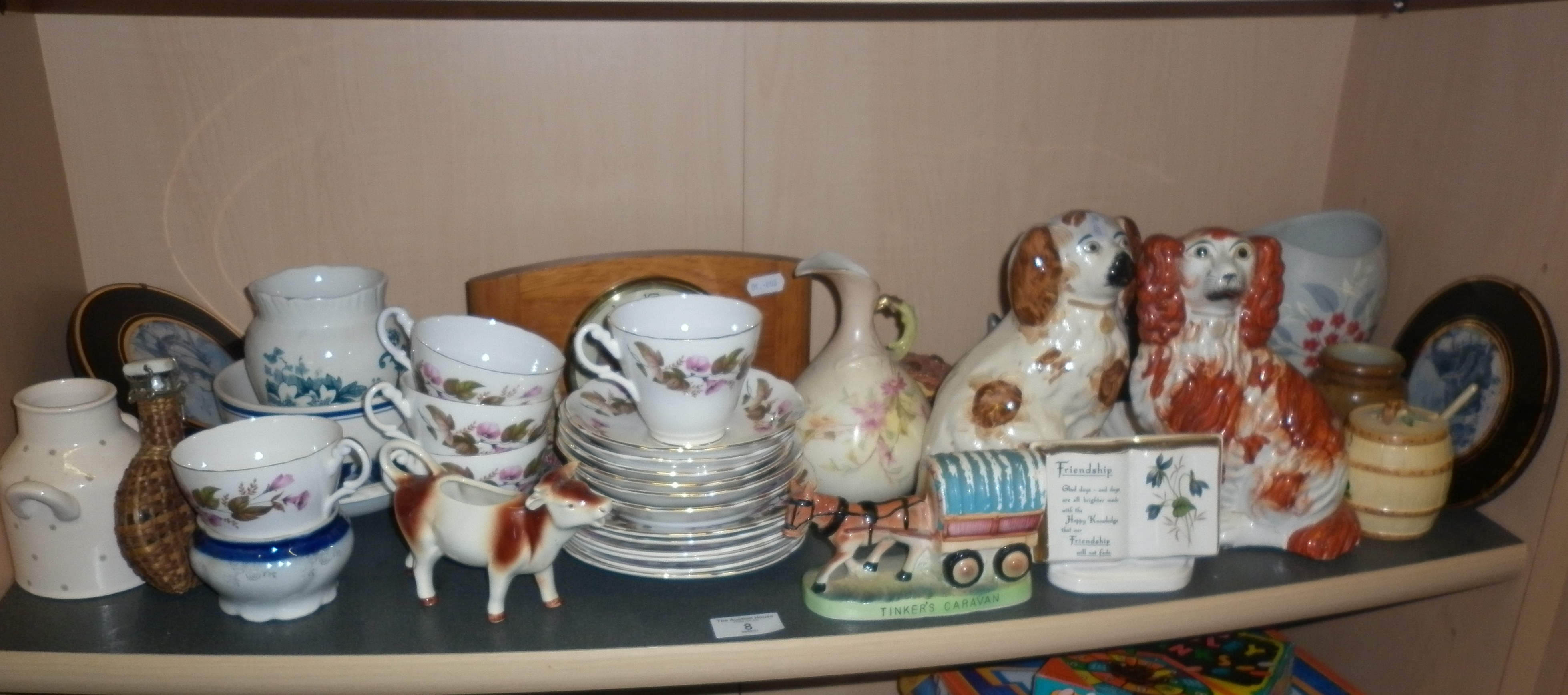 Shelf of assorted china and Staffordshire dogs
