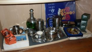 Collection of assorted mid-century stainless steel teapots and napkin rings, inc, Old Hall (some