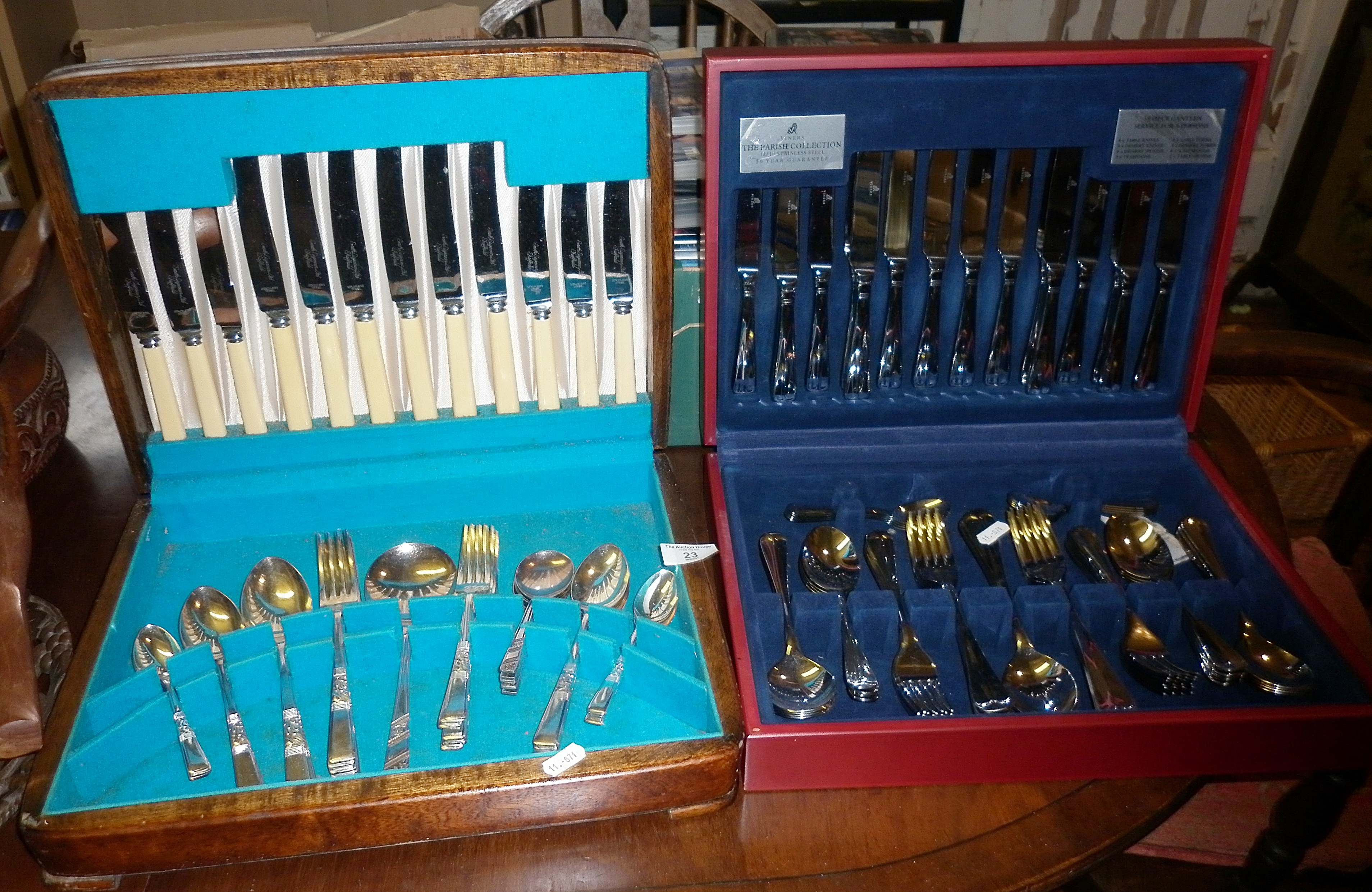Two cased canteens of cutlery - Viners Parish, and silver-plate