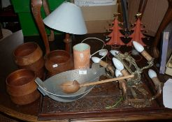 Three metal wall lights, carved wooden tray and other items