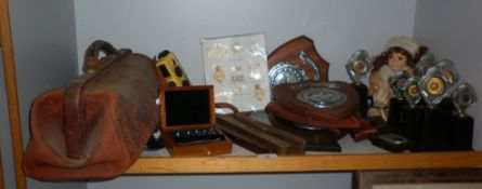 Assorted items inc. three brass bound levels, a Gladstone bag, cased weights, etc.