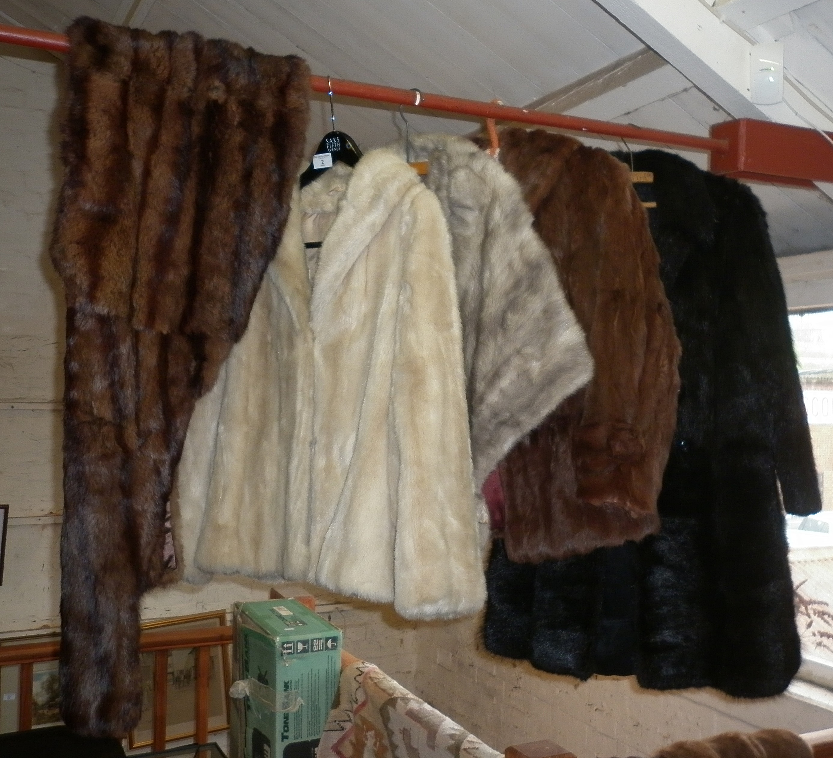 Vintage clothing: Three fur jackets. a mink cape and 3 fur stoles
