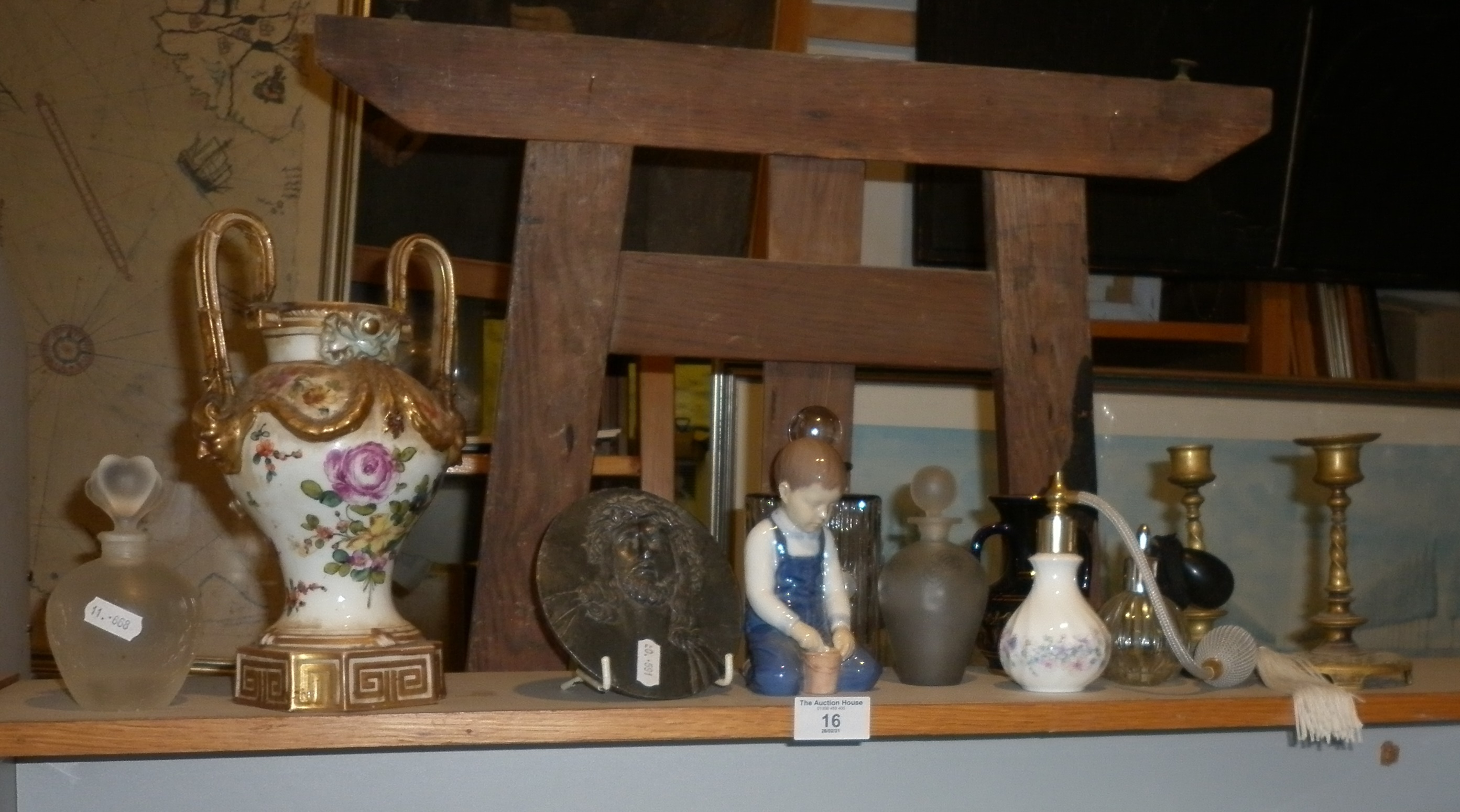 Five scent bottles and a chamber pot, etc. Together with a Meissen two-handled urn, 24cm having