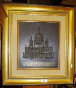 Wedgwood Black basalt relief plaque of St Paul's Cathedral mounted in wall or free standing frame,