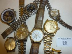 Collection of Breitling and Rolex replica wrist watches