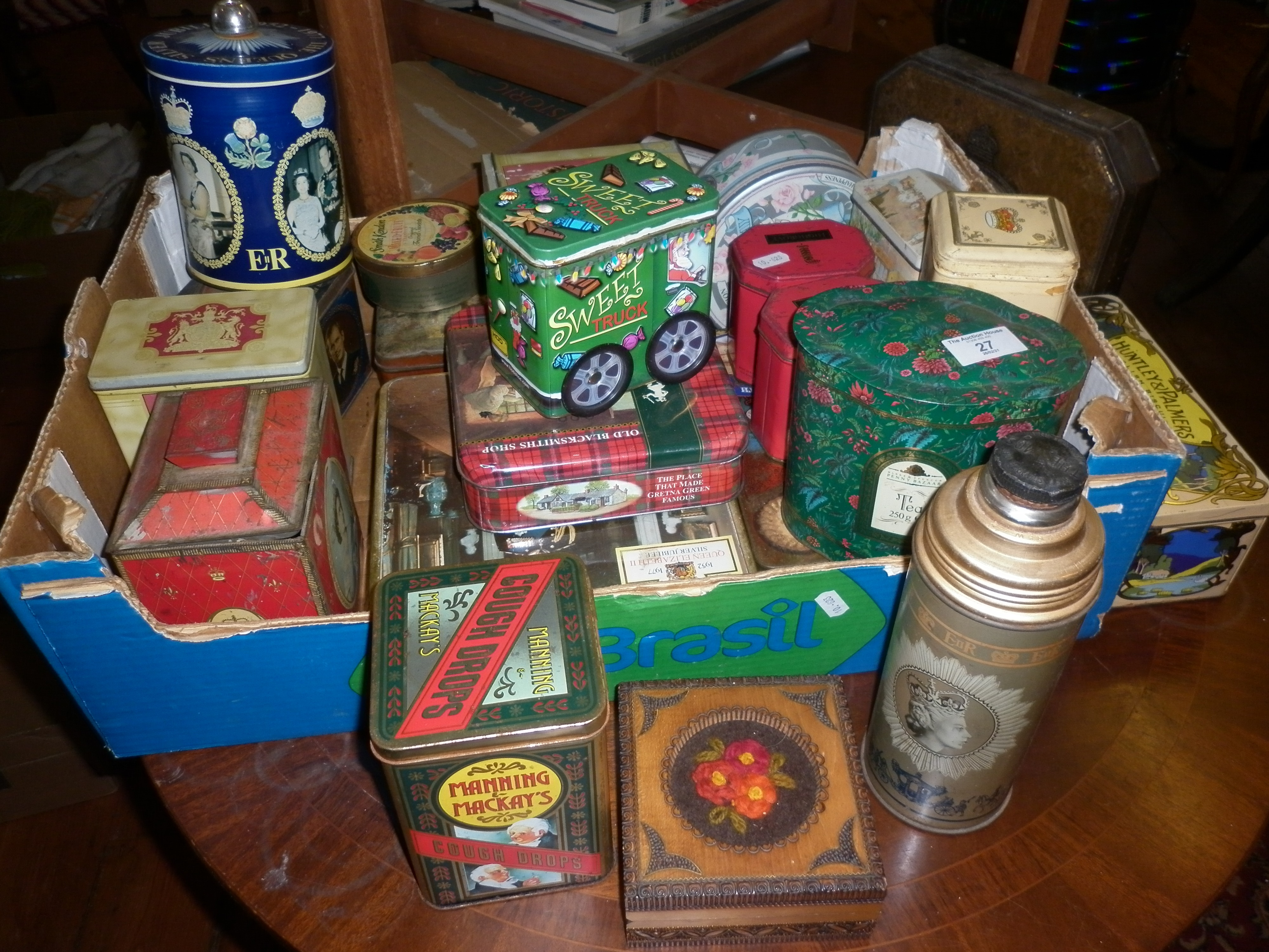 Large collection of vintage biscuit and toffee tins