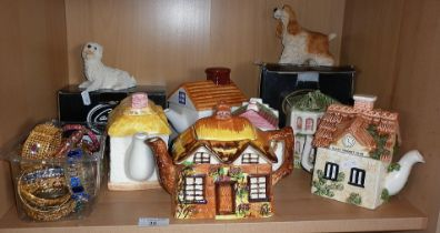Six various novelty cottage tea pots and other items