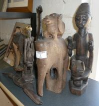 Tribal Art: Seven various African carved wood figures