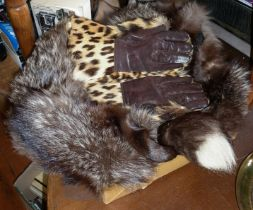 Vintage clothing: Two fur collars and a pair of leopard skin gauntlet gloves