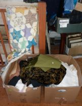 Patchwork quilt and two big boxes of textiles and linen