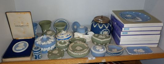 Collection of Wedgwood Jasperware boxes, ashtrays and plates
