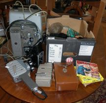 Two 8mm movie cameras, projectors, cameras, films