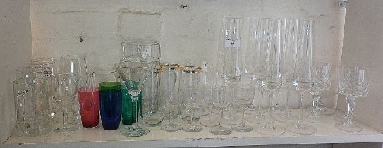Champagne flutes and other drinking glasses