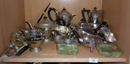 Two silver plated tea sets, etc.