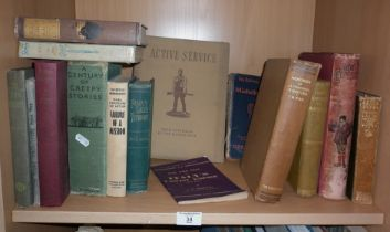"Shelf of assorted books, inc. 1941 ""Active Service"", pub. Australian War Memorial"
