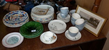 "Quantity of assorted china plates, Alfred Meakin ""Wheatsheaf"" cups and saucers and a small"