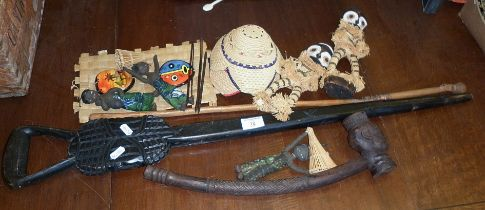Souvenir Tribal Art, inc. carved wooden walking stick, woven figures and dolls etc.