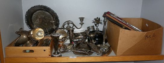 Large shelf of assorted silver plate cutlery, with some antique utensils