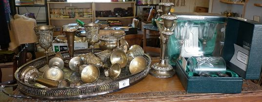 Oval silver plated serving tray and others