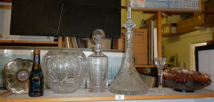 Ship's decanter, another with etched picture of St. Pauls, glass egg cup and four carnival glass