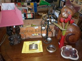 Miscellaneous items inc. wooden cat, etc.