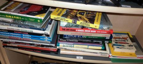 Large quantity of books and racing cars and sports cars, inc. Lotus etc.
