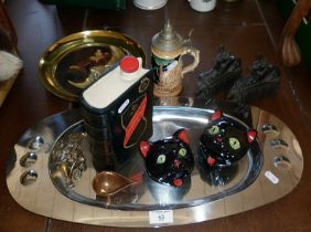 Stainless steel serving tray, pair of 1950's Italian pottery cat ashtrays, etc.