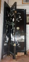 Large four-fold Japanese style lacquered and painted screen