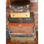 Six various suitcase, cases and tins