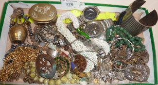 Assorted vintage costume jewellery and wrist watches, inc. Swatch and Seiko