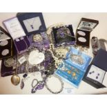 Contemporary and vintage purple themed costume jewellery, some Swarovski crystal and silver bits