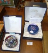 Caithness 'Star Flower' glass paperweight by Colin Terris and another, boxed
