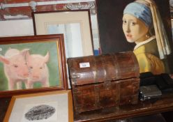Dome topped steel bound casket and some prints etc.