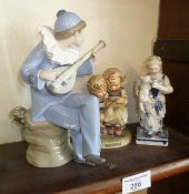 """Nao china figure of a musician, a Goebels group """"The Smart Little Sister"""" and a Continental blue and"""
