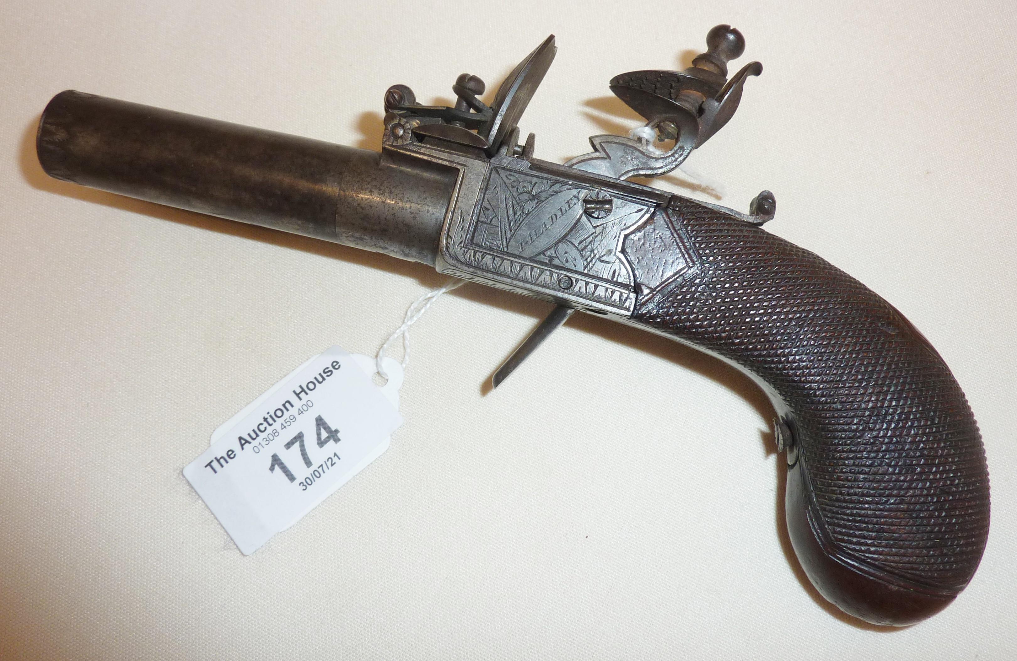 Rare early 19th c. boxlock pocket dagger pistol by H. Hadley of London
