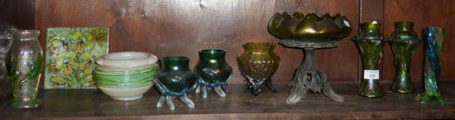 Collection of Art Nouveau Loetz style iridescent art glass vases (9)