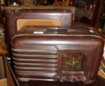 A PILOT bakelite cased valve radio and similar speaker