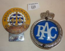 Car grille badges - enamel Baltic Exchange Motor Club (enamel damaged), and another (RAC)