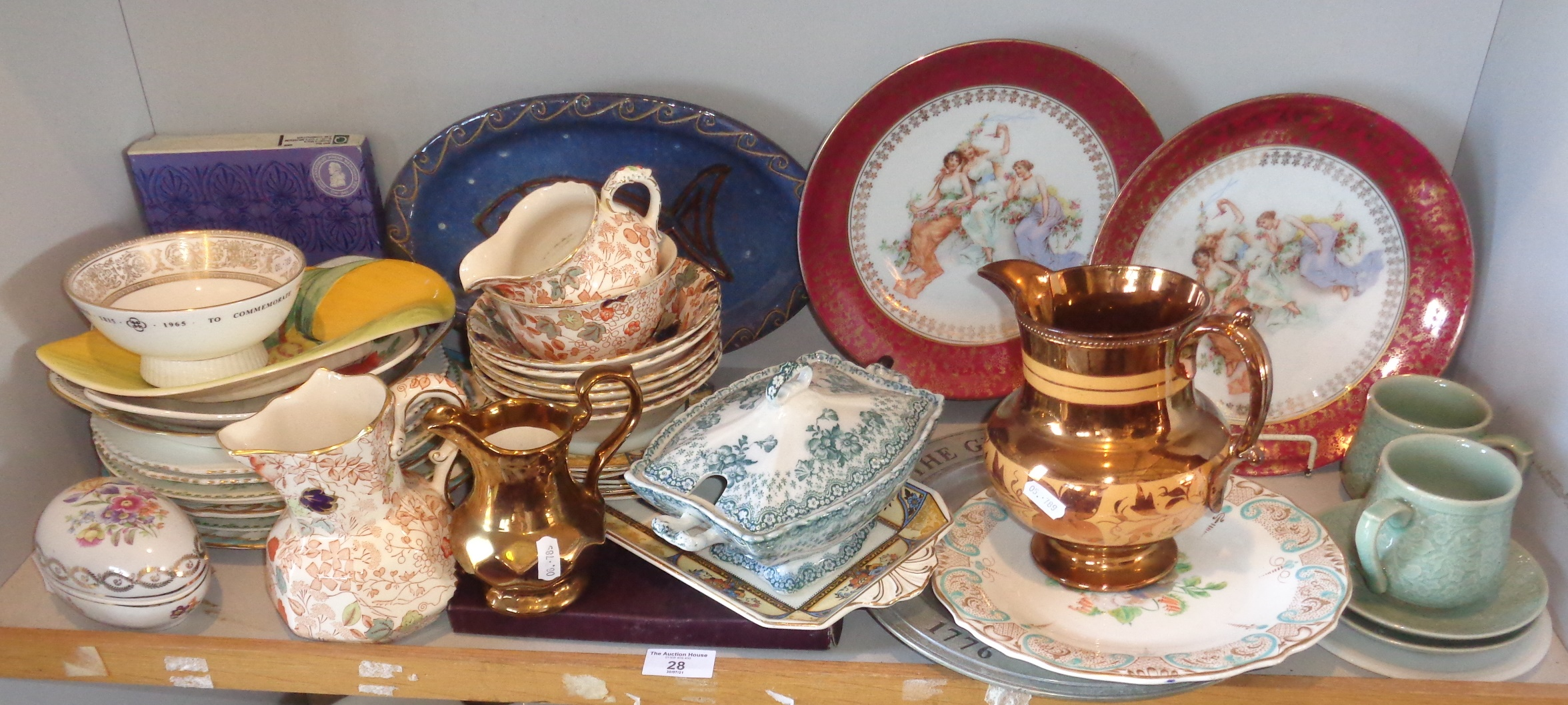 Shelf of assorted china plates, including a Midwinter Stylecraft Fashion shape dish and two lustre