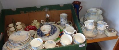 Edwardian blue and white tea service and other china