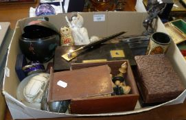 Collection of assorted items, inc. chess sets, box and bronze figurine, Russian doll case, etc.