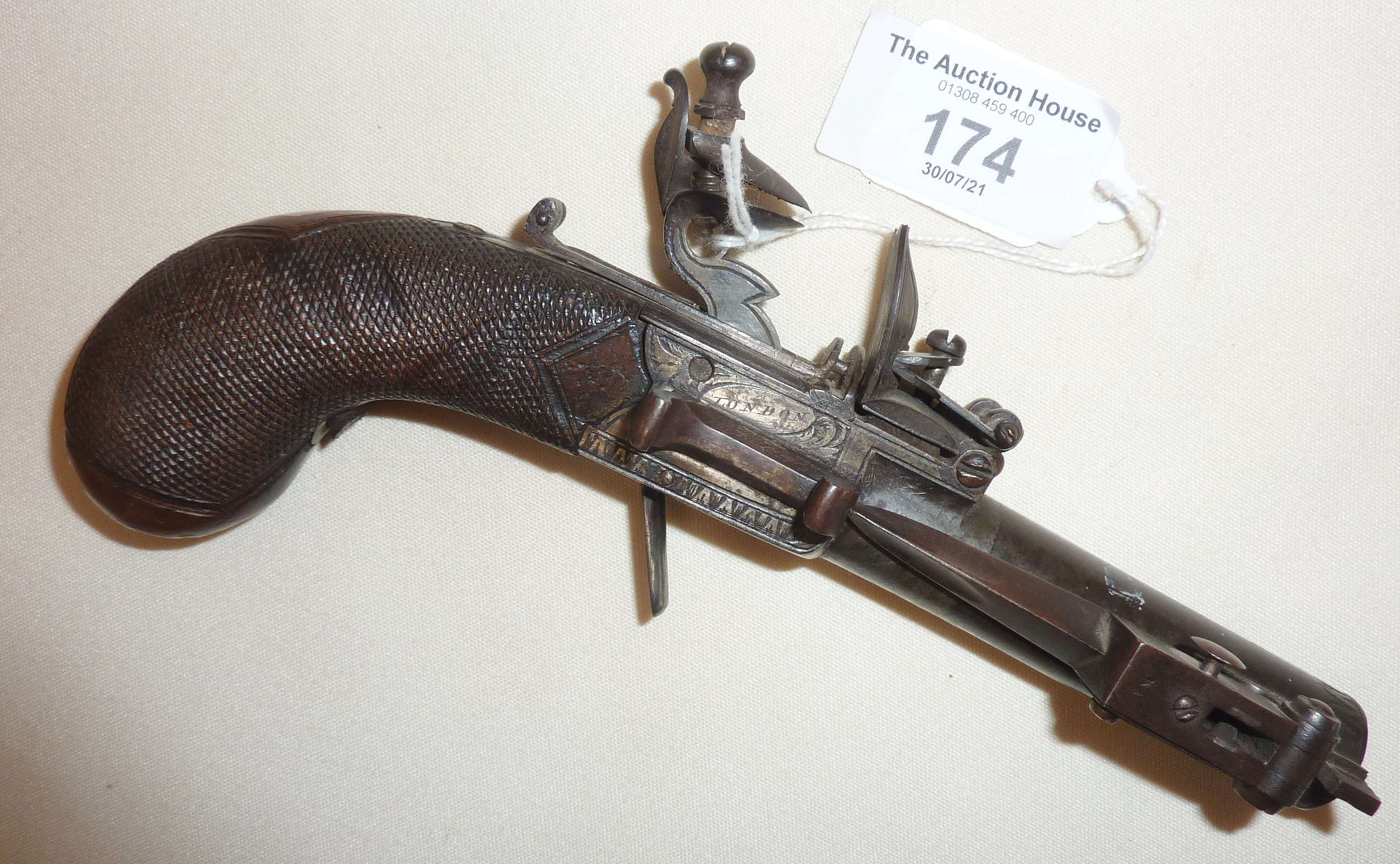 Rare early 19th c. boxlock pocket dagger pistol by H. Hadley of London - Image 2 of 2