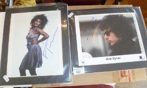 Signed Bob Dylan photograph, COA and similar of Tina Turner