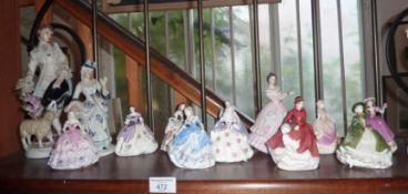 Coalport and Royal Doulton lady figurines, etc. (shelf of)