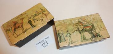 Pair of antique papier mache table snuff boxes, with transfer printed circus scenes, depicting