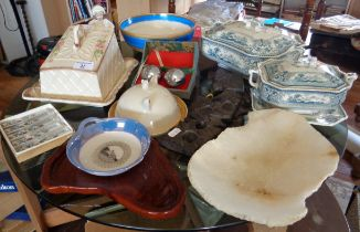 Assorted china inc. tureens, cheese dish, a Shelley bowl and a Victorian nodding barrister