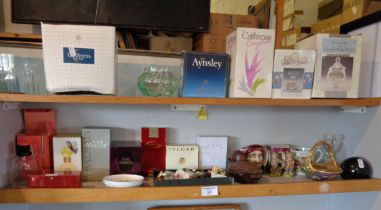 Quantity of boxed perfumes, Caithness glass paperweight and Aynsley china, etc.