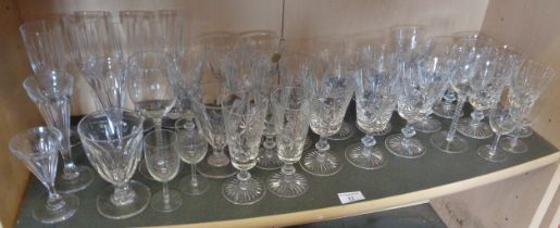 Collection of assorted cut glass wine glasses