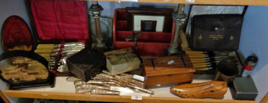 Miscellaneous items, inc. cutlery, brass lamp bases and boxes etc.