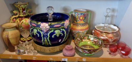 Art Nouveau pottery jardiniere, Maling china bowl and other pottery and glass items